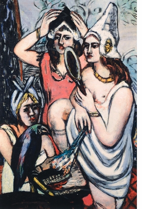 """Featured image, Max Beckmann's """"Before the Dress Ball"""" (1945), is reproduced from <I>Women: Picasso, Beckmann, de Kooning.</I>"""