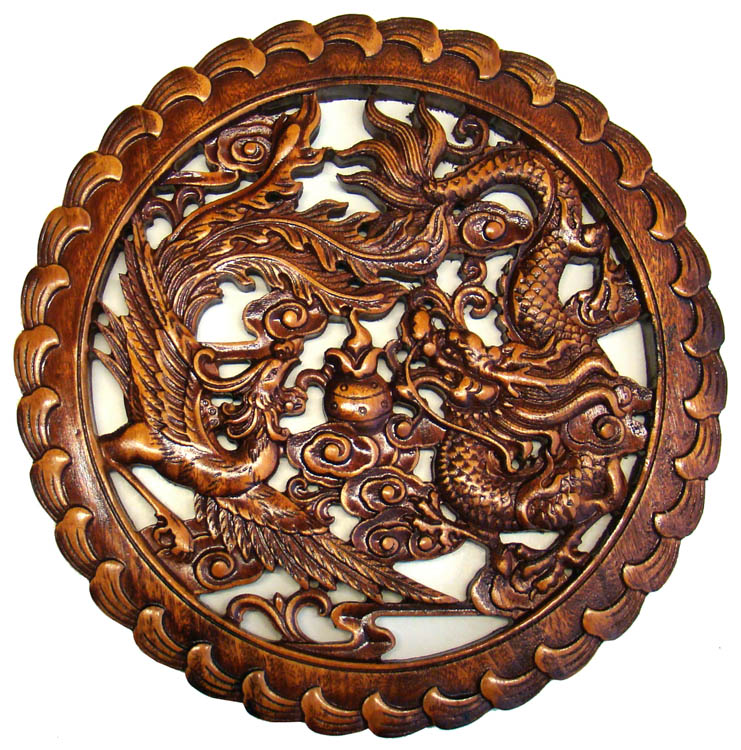 Carved Chinese Wood Plaque Dragon Phoenix amp Prosperity