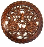 Carved Chinese Wood Plaque - Twin Dragons #26