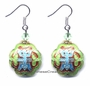 Chinese Cloisonne Earrings (pair) - Good Fortune Symbol #40