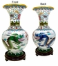 Chinese Cloisonne Vase - Twin Dragons #13
