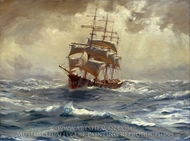 A Barque Running Before a Gale painting reproduction, Thomas Jacques Somerscales