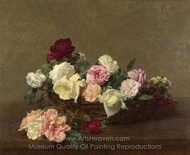 A Basket of Roses painting reproduction, Henri Fantin-Latour