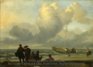 A Beach Scene with Fishermen painting reproduction, Ludolf Backhuysen