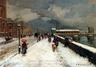 A Blustery Winter Day painting reproduction, Carlo Brancaccio