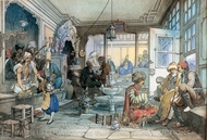 A Cafe in Istanbul painting reproduction, Amedeo Preziosi