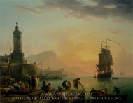 A Calm at a Mediterranean Port painting reproduction, Claude-Joseph Vernet