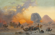 A Caravan Fleeing from a Desert Simoom Near the Sphinx painting reproduction, Ippolito Caffi