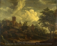 A Castle on a Hill by a River painting reproduction, Jacob Van Ruisdael