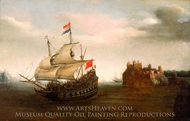 A Castle with a Ship Sailing Nearby painting reproduction, Hendrick Cornelisz Vroom