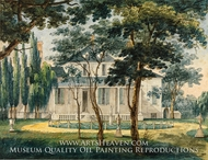 A Country Residence, Possibly General Moreau's Country House at Morrisville, Pennsylvania painting reproduction, Pavel Petrovich Svinin