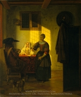 A Couple Playing Cards, with a Serving Woman painting reproduction, Pieter De Hooch