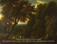A Cowherd in a Woody Landscape painting reproduction, Jan-Baptist Huysmans