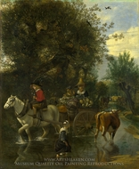 A Cowherd Passing a Horse and Cart in a Stream painting reproduction, Jan Siberechts