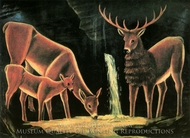 A Deer Family painting reproduction, Niko Pirosmani