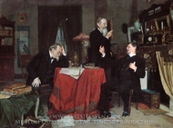 A Discussion painting reproduction, Louis Moeller