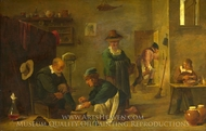 A Doctor tending a Patient's Foot in his Surgery painting reproduction, David Teniers, The Younger