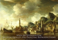 A Dutch Flagship and a Fluyt Running into a Mediterranean Harbour painting reproduction, Johannes Beerstraaten