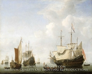 A Dutch Flagship Coming to Anchor with a States Yacht Before a Light Air painting reproduction, Willem Van De Velde, The Younger