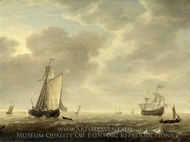 A Dutch Man-of-war and Various Vessels in a Breeze painting reproduction, Simon De Vlieger