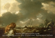 A Dutch Merchant Ship Running Between Rocks in Rough Weather by Willem Van De Velde, The Younger