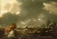 A Dutch Merchant Ship Running Between Rocks in Rough Weather painting reproduction, Willem Van De Velde, The Younger