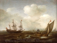 A Dutch Ship and a Kaag in a Fresh Breeze painting reproduction, Hendrick Cornelisz Vroom