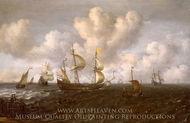 A Dutch Ship Before the Wind painting reproduction, Joachim De Vries