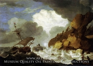 A Dutch Ship Foundering off a Rocky Coast painting reproduction, Hendrick Staets