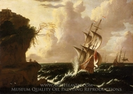 A Dutch Ship in a Storm painting reproduction, Matthieu Van Plattenberg