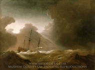 A Dutch Ship Scudding Before a Storm painting reproduction, Willem Van De Velde, The Younger
