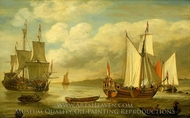 A Dutch States Yacht painting reproduction, Lieve Pietersz Verschuler