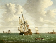 A Dutch Whaler Close-Hauled in a Breeze painting reproduction, Jan Claesz Rietschoof
