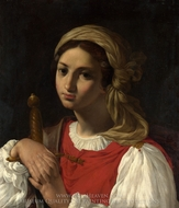 A Female Figure Resting on a Sword painting reproduction, Italian Painter