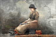 A Fishergirl Baiting Lines painting reproduction, Winslow Homer