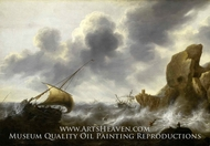 A Fishing Boat off a Rocky Coast in a Storm with a Wreck painting reproduction, Jacob Adrianensz Bellevois