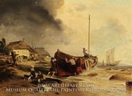 A Fishing boat On the Beach painting reproduction, Andreas Achenbach
