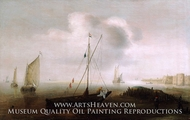A Fishing Boat with Sail Lowered Near the Shore painting reproduction, Hans Goderis