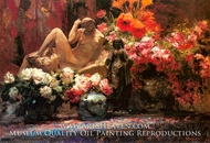 A Floral Still Life with Sculpture painting reproduction, Alfred Bastien