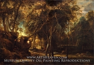 A Forest at Dawn with a Deer Hunt painting reproduction, Peter Paul Rubens