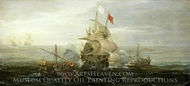 A French Ship and Barbary Pirates painting reproduction, Aert Anthonisz