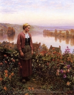A Garden above the Seine, Rolleboise painting reproduction, Daniel Ridgway Knight