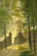 A Gateway Behind Trees painting reproduction, Stanislas-Victor-Edmond Lapine