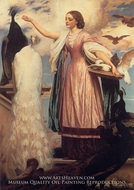 A Girl Feeding Peacocks painting reproduction, Lord Frederic Leighton