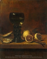 A Goblet of Wine, Oysters and Lemons painting reproduction, Jan Van De Velde