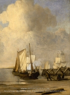 A Kaag Coming Ashore near a Groyne with Ships and Vessels under Sail Beyond by Willem Van De Velde, The Younger