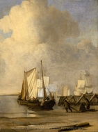 A Kaag Coming Ashore near a Groyne with Ships and Vessels under Sail Beyond painting reproduction, Willem Van De Velde, The Younger