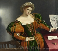 A Lady as Lucretia painting reproduction, Lorenzo Lotto