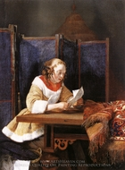 A Lady Reading a Letter painting reproduction, Gerard Ter Borch