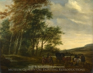 A Landscape with a Carriage and Horsemen at a Pool painting reproduction, Salomon Van Ruysdael
